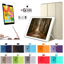 For Apple iPad 9.7-in 5th Gen 2017 Leather Stand SMART CASE Cover+Tempered Glass