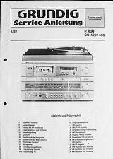 Original GRUNDIG Service Handbuch Kompakt-Center CC 420/430 mit Receicer R 400