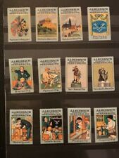 12 POSTER STAMPS VIGNETTES GERMANY  REHBACH KEY AND PENCIL from 1913 -GREAT-