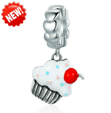 Ice cream European CZ Crystal Charm Silver Spacer Beads Fit Necklace Bracelet !