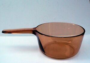 "1.5 Ltr Vintage Vision Corning France Amber / Orange Glass Saucepan 7"" (18cm)"
