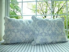 Franktex Blue Quilted Standard Scalloped Edge Floral Medallions Pillow Sham