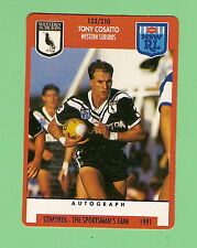 1991 RUGBY LEAGUE CARD #123  TONY COSATTO , WESTERN SUBURBS MAGPIES