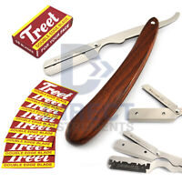 Traditional Wooden Handle Barber Hair Shaving Single Edge Straight Razor Blades