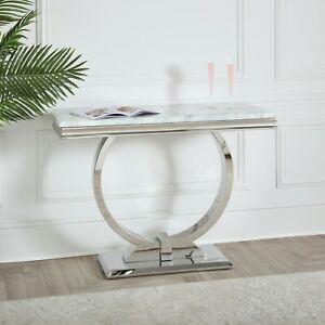 NICHES Arianna Grey Marble 120cm Hallway Console Entrance Table Chrome U Legs