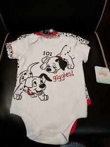 Disney 101 Dalmatian 2 Piece Puppy Dog Giggles Bodysuit Set 3-6m One Piece