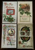 Lot of 4 John Winsch ~Antique Christmas Holiday Postcards--s402
