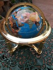 "Lapis Lazuli Gemstone World Globe 6"" Diameter 9.5"" inch base 10"" height"
