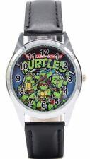 Teenage Mutant Ninja Turtles Classic Pose Black Leather Band Wrist Watch