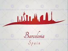 Dipinto astratto Cityscape ROSSO BARCELLONA SPAGNA 30X40 CMS poster stampa bmp11590
