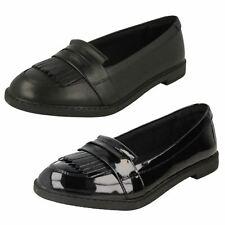 Dolly Up EX DISPLAY Filles Clarks Cuir Noir à Lacets Formel//École Chaussures
