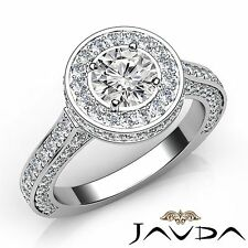 Round Diamond Engagement GIA I Color VS2 18k White Gold Halo Pave Set Ring 3.1ct
