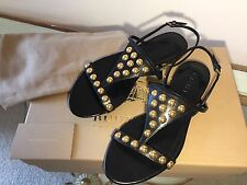 "Burberry ""Parnell"" Studded Leather Flat Sandals Shoes Sz EU 36 UK 3 BNWB RRP£325"