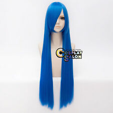 100CM Anime Long Straight Heat Resistant Royal Blue Basic Bangs Cosplay Wig+Cap