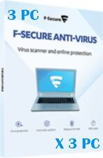 F-Secure ANTIVIRUS 2017  Per 3 COMPUTER  PC/MAC 1 Year anno 3 Licenze