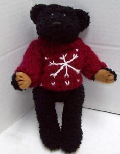 "Vintage TEDDY 1988 Crisha Creations Black BEAR KNITTED SWEATER 10"" Jointed Leg"