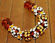 New 15 pc strand Fine, Murano Lampwork Glass Beads - Spring Floral 14mm - A2906c
