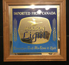 MOLSON LIGHT BEER MIRROR SIGN PROMO ADVERTISING MOLSON CANADIAN BEER IMPORTED