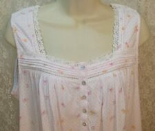 X-Large XL Eileen West Cotton Nightgown Short Sleeveless Gown White Pink/Yellow