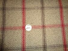 1/4 mtr FQ 60-50cm Lewis Brown Grey Red Check Tweed Shade Roman Curtain Fabric