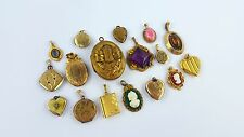 Lot of Vintage & Antique ROLLED GOLD / Tone Mixed Cameo, Stone, Locket Pendants