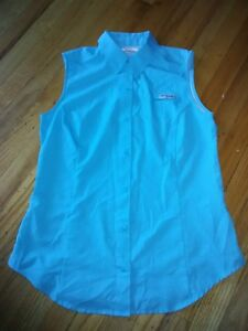 COLUMBIA PFG FISHER'S SLEEVELESS VEST SHIRT - SIZE S/P – TURQUOISE BLUE