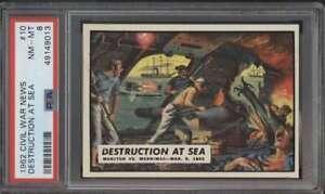 1962 Topps Civil War News #10 Destruction at Sea  PSA 8  NMMT 62905