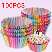 100 PCS Colorful Muffin Cup Rainbow Cake Paper Case Box Baking Liner Cupcake