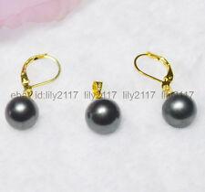 Fashion boutique 10 mm Black shell pearl pendant  earrings SET AAA