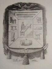 RARE Litho CARICATURE OFFICIER ANGLAIS FROMAGE GASTRONOMIE MARTINET ARDIT 1830