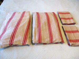 RALPH LAUREN Bertrand Stripe Queen Sheet Set Jardiniere Coordinate Red Tan