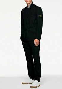 STONE ISLAND Black Men Suit Jacket With White Striped Collar Joggers Stylish