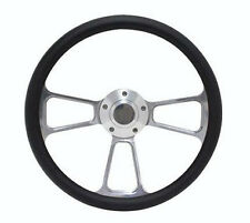 "SPECIAL BUY!! Billet and Black Vinyl 14"" Steering Wheel - Chevy, Ford, Dodge"