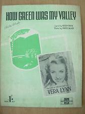VINTAGE SHEET MUSIC - HOW GREEN WAS MY VALLEY - VERA LYNN