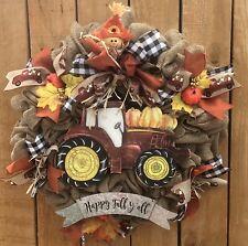 Red Tractor Truck Happy Fall Harvest Autumn Pumpkin Wreath, Thanksgiving Wreath