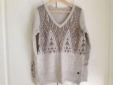 Hollister Women Sweater Sz L V-neck Cream Geometric Long Sleeve Side Slit New