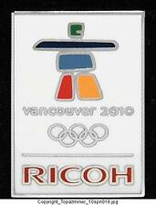 OLYMPIC PINS 2010 VANCOUVER CANADA SPONSOR RICOH WHITE