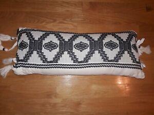 "Pendleton Kiva Steps Decor Pillow in Ivory/Black 30"" x 14"""