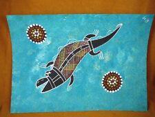 AUS-17 Crocodile teal Australian Native Aboriginal PAINTING Artwork T Morgan