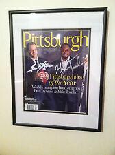 MIKE TOMLIN DAN BYLSMA Steelers PENGUINS signed framed PITTSBUGH MAGAZINE auto