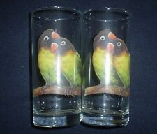 Love Bird Parokeet Drinking Glass Pair