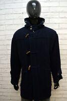 AMERICANINO Uomo Taglia 54 Cappotto Lana Blu Giacca Montgomery Parka Jacket Man