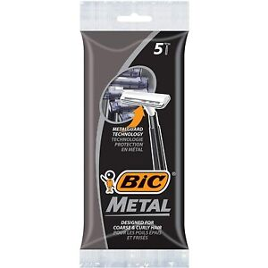 BIC Metal Single Blade Disposeable Razors 5pk. Designed for Coarse & Curly Hair