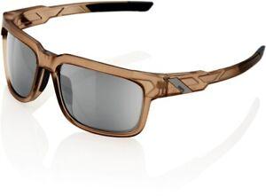 100% Type-S Sunglasses Matt Translucent Crystal Sepia - HiPER Silver Mirror Lens