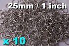 10x Strong Split Ring 25mm keyring shiny silver nickel hoop metal loop key rings