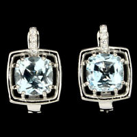 Cushion Cut Sky Blue Topaz 8mm Cz 925 Sterling Silver Earrings