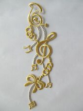 "2202 9-1/4"" Gold,Silver Trim Fringe Music Note,Instrument,Bowknot Applique Patch"
