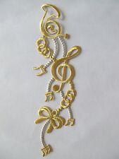 "2202 9-1/4"" Gold,Silver Trim Fringe Music Note,Instrument,Bowknot Applique Patch"
