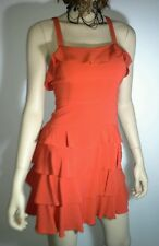 BETTINA LIANO Size 8 Burnt ORANGE Cross Over Ruffle Mini Dress NWOT RRP $570