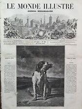 """LE MONDE ILLUSTRE 1859 N 105 LE SALON DE 1859  """"CHIEN DE CHASSE """", par C.TROYON"""